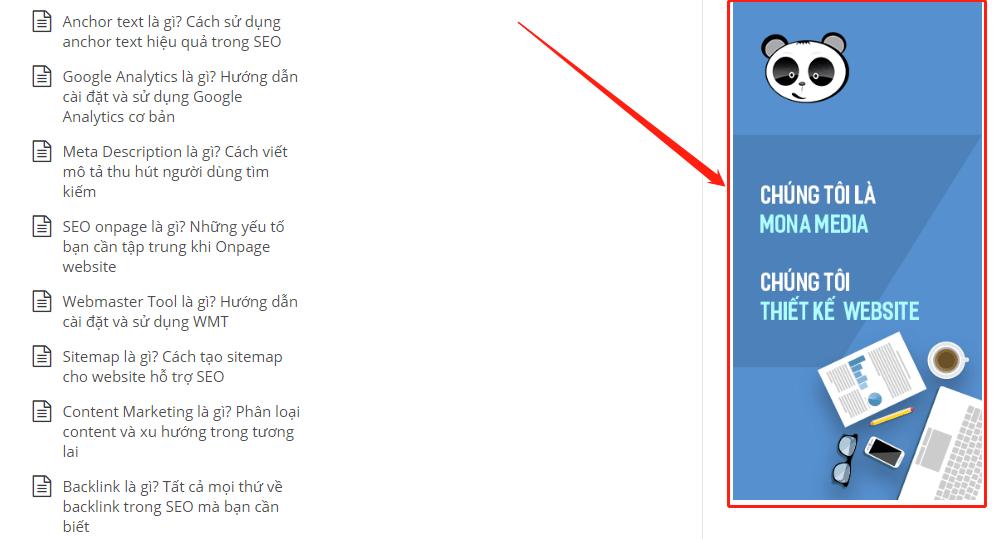 Banner quảng cáo trên web mona