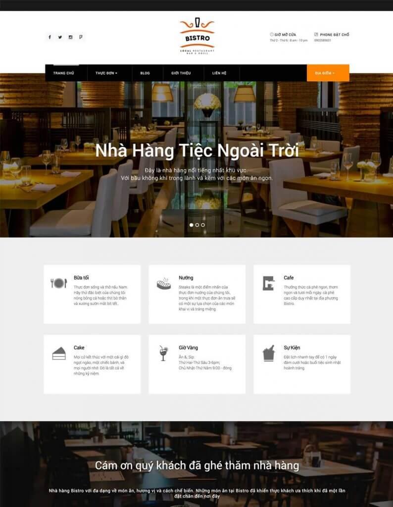Thiết kế web hiện đại, sang trọng phù hợp với những nhà hàng cao cấp