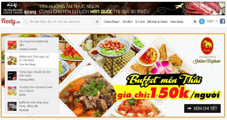 Mẫu website nhà hàng foody