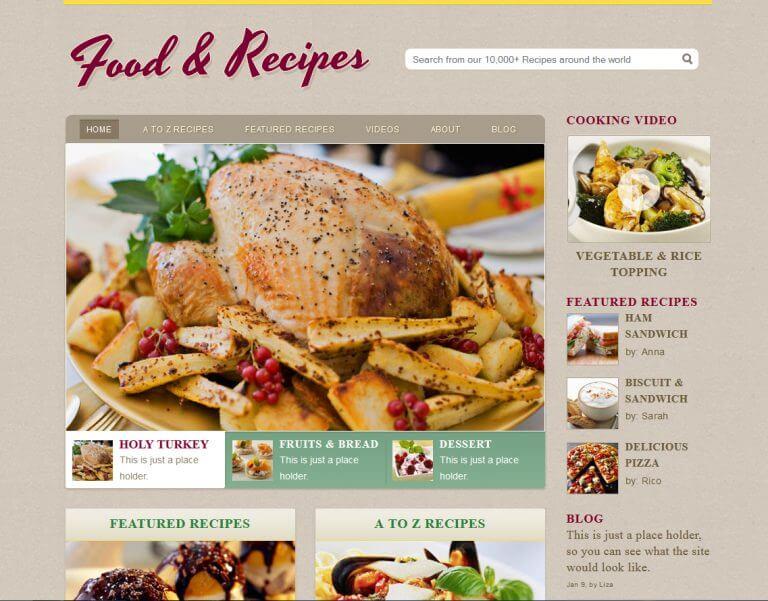 xu hướng thiết kế website nhà hàng food & reciper